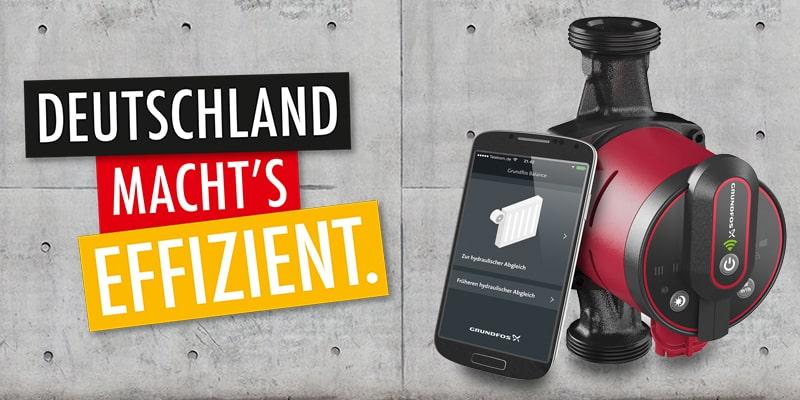 Deutschland macht's effizient. Das Alpha3-System besteht aus der Nassläuferpumpe Alpha3, dem Lesegerät Alpha Reader und der kostenlosen App GO Balance. Bild: GRUNDFOS GmbH